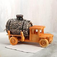 Бочка для пива на деревянной подставке в виде грузовика, 3 л