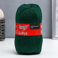 Пряжа Lidiya (ЛидияПШ) 50 шерсть, 50 акрил 1613м/100гр (62 т.зеленый) (комплект из 2 шт.)
