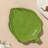 Тарелка 'Артишоки', зелёная, 20 х 17 см