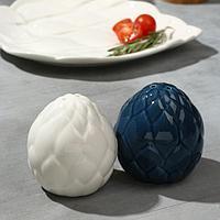 Перечница и солонка 'Артишок', белая и синяя 6 х 6,5 см