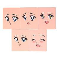 Тетрадь 48 листов в клетку 'Глаза аниме', обложка мелованный картон, глянцевая ламинация, блок офсет, МИКС