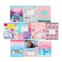Тетрадь 24 листа в клетку 'MIX-10 Девочки', обложка мелованный картон, блок офсет, МИКС (комплект из 12 шт.)