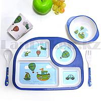 Набор детской посуды поднос стакан миска ложка и вилка голубой