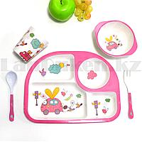 Набор детской посуды поднос стакан миска ложка и вилка розовый