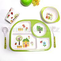 Набор детской посуды поднос стакан миска ложка и вилка зеленый