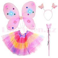 Набор феи светящийся крылья ободок волшебная палочка с радужной юбкой 229-2 розовый