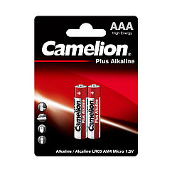 Батарейка, CAMELION, LR03-BP2, Plus Alkaline, AAA, 1.5V, 1150 mAh, 2 шт в блистере