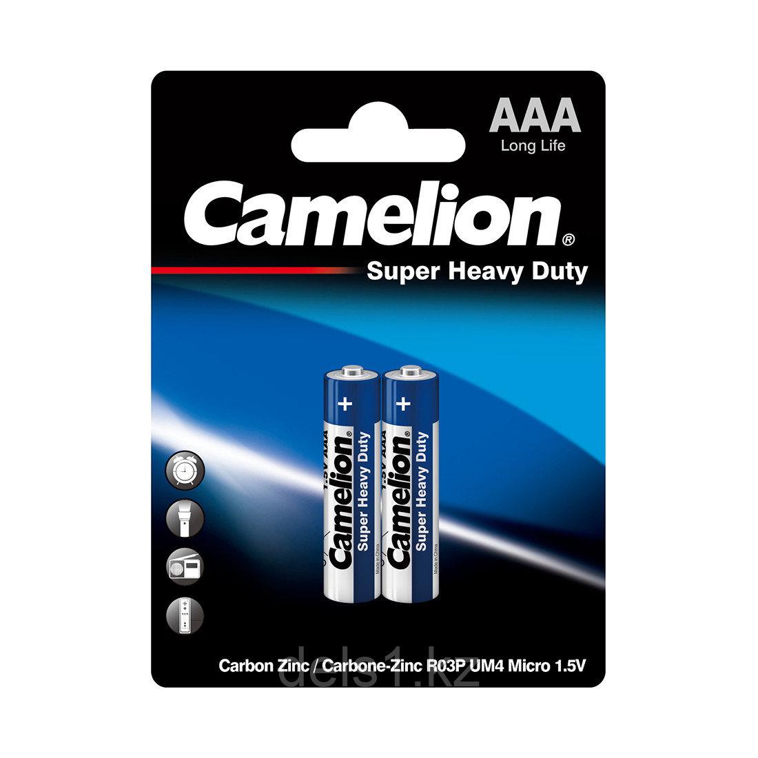 Батарейка, CAMELION, R03P-BP2B, Super Heavy Duty, AAA, 1.5V, 550mAh, 2 шт. в блистере