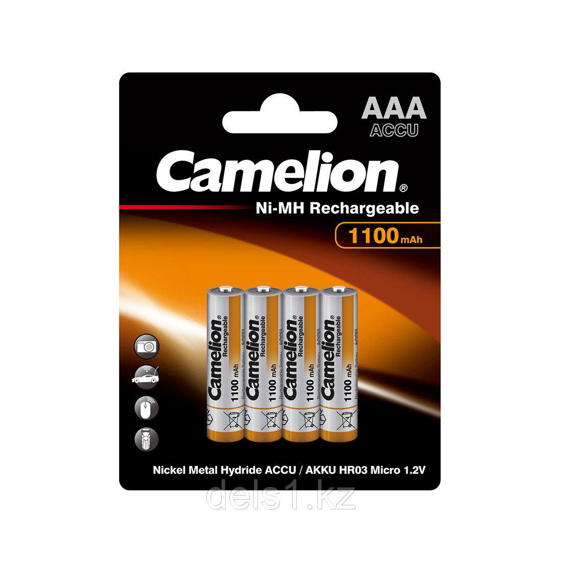 Аккумулятор, CAMELION, NH-AAA1100BP4, Lockbox Rechargeable, AAA, 1.2V, 1100 mAh, 4 шт. в блистере