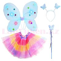 Набор феи светящийся крылья ободок волшебная палочка с радужной юбкой 229-2 голубой