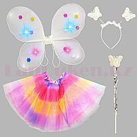 Набор феи светящийся крылья ободок волшебная палочка с радужной юбкой 229-2 перламутровый белый