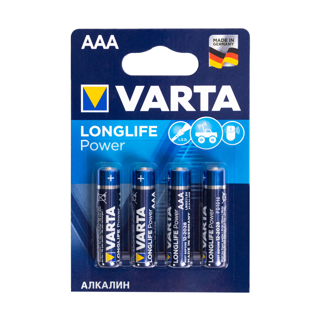 Батарейка, VARTA, LR03 Longlife Power Micro, AAA, 1.5 V, 4 шт., Блистер