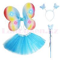 Набор феи светящийся радужные крылья ободок волшебная палочка с юбкой 229-5 голубой
