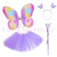 Набор феи светящийся радужные крылья ободок волшебная палочка с юбкой 229-5 фиолетовый