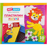 Пластилин ArtSpace, 10 цветов, 120гр, со стеком, картон
