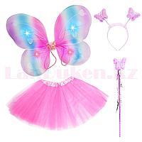 Набор феи светящийся радужные крылья ободок волшебная палочка с юбкой 229-5 розовый