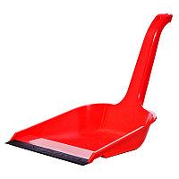 Совок для мусора OfficeClean, высокая ручка, с резиновой кромкой, ширина 23см, пластик, красный