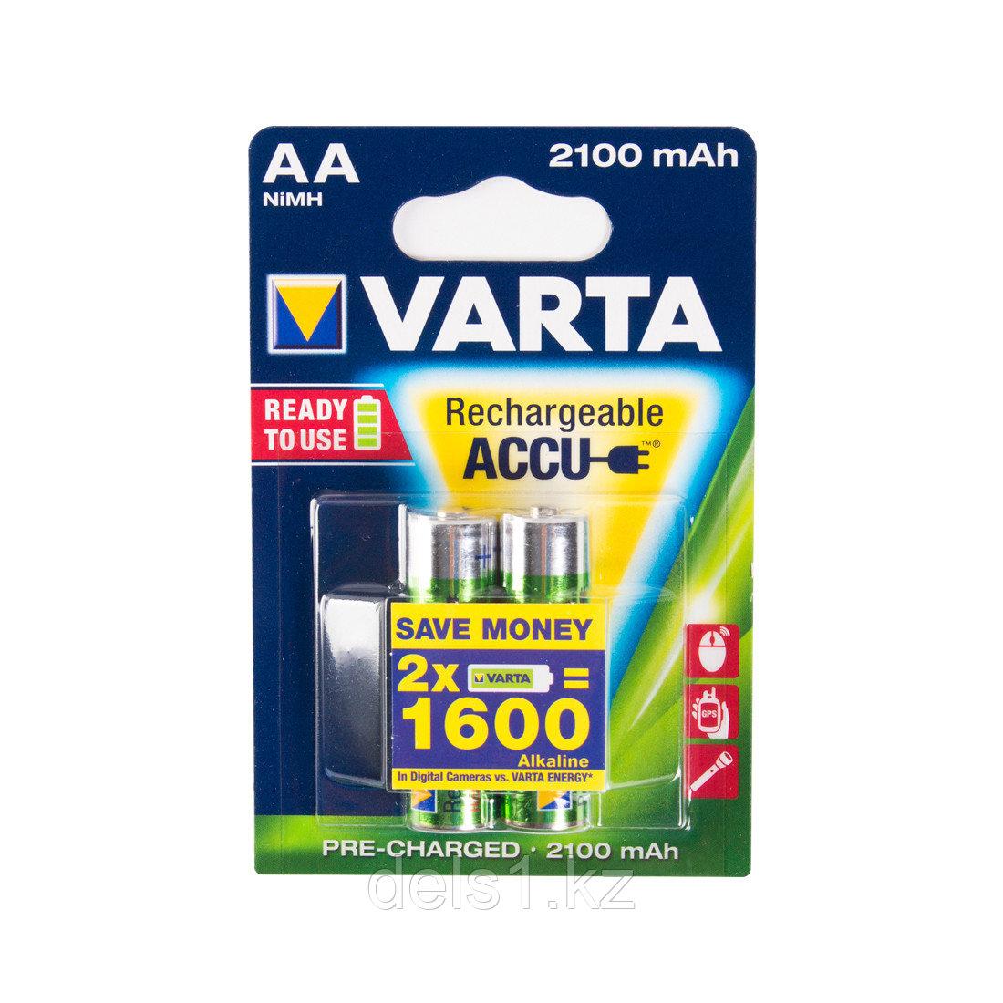 Аккумулятор, VARTA, R2U (HR6), AA, 1.2 V, 2100 мАч, 2 шт., Блистер
