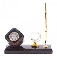 """Мини-набор """"Куб"""" с глобусом камень обсидиан коричневый"""