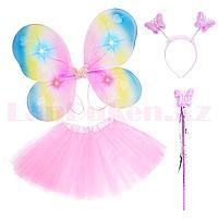 Набор феи светящийся радужные крылья ободок волшебная палочка с юбкой 229-5 светло-розовый