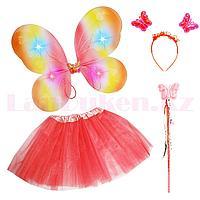 Набор феи светящийся радужные крылья ободок волшебная палочка с юбкой 229-5 красный
