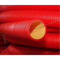 Двустенная труба ПНД гибкая для кабельной канализации д.75мм с протяжкой и муфтой, в бухте 50м, цвет краcная