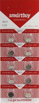Батарейка часовая Smartbuy AG11 (LR58, SR721W, R58, G11, AG11, LR721, GP62A, 362) 10 шт в уп.