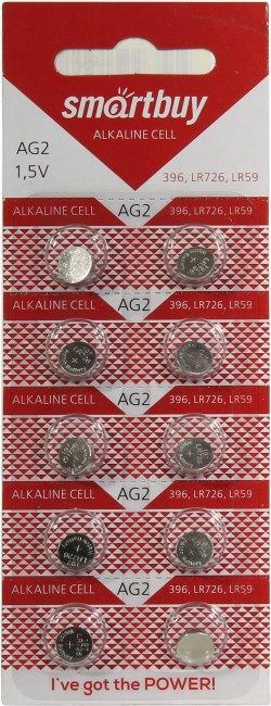 Батарейка часовая Smartbuy AG2 (LR59, SR726, R59, G2, AG2, LR726, GP96A, 196, 396) 10 шт в уп.