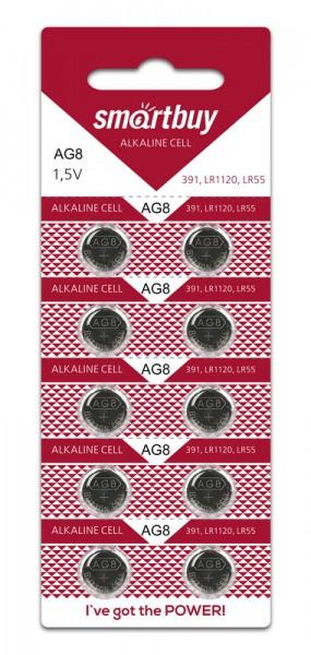 Батарейка часовая Smartbuy AG8 (391, LR1120 LR55) 10 шт в уп.