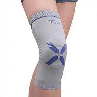 Фиксатор коленного сустава с силиконовыми кольцами и боковыми пластинами (М) F 1602, серый