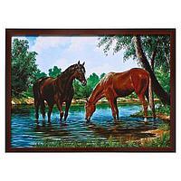 """Картина """"Лошади на водопое"""" 56х76см."""