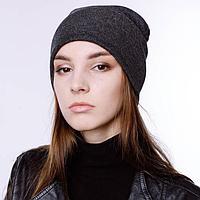 Шапка женская ФЛОРА, цвет темно-серый, р-р 56-58