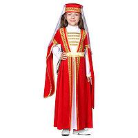 Карнавальный костюм для лезгинки, для девочки головной убор, платье, р-р 28, рост 98-104 см, цвет красный