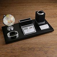 Набор настольный 6в1 (глобус, подставка под визитки, подставка, бумага,держатель) красн дер.