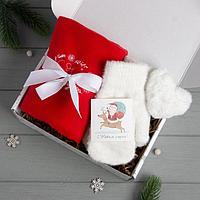 Набор подарочный 'Тепла и уюта в Новом году' плед, варежки, брелок