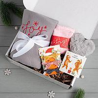 Набор подарочный 'Joy' плед, носки, брелок, резинки