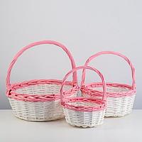 Набор корзин плетеных, ива, D36х14/39, D29х12,5/33, D22х11/28 см, белый, розовый, 3 шт