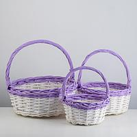 Набор корзин плетеных (ива), D36х14/39 см, D29х12,5/33 см, D22х11/28 см, 3 шт., белый / сире