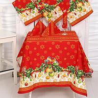 Столовый набор рогожка Рождество скатерть 150х180см, салфетки 30х30см-6шт, хл100, 170г/м2
