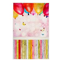 Фотофон винил 'Воздушные шары и разноцветные доски' стена+пол 80х125 см