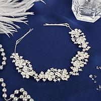 Аксессуар для волос 'Мальви' 21 см бабочки на цветах, серебро