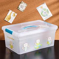 Контейнер для хранения с крышкой и ручкой 'Kid's Box Игрушки', 10 л, 37,5x25,5x16 см, цвет голубой