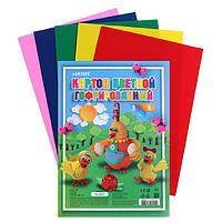 Картон цветной гофрированный, А4, 5 листов х 5 цветов, deVENTE, 180 г/м2, в пластиковом пакете с европодвесом,