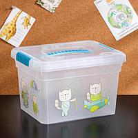 Контейнер для хранения с крышкой и ручкой 'Kid's Box Игрушки', 5 л, 25x20x16 см, цвет голубой
