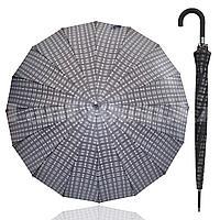 Зонт трость мужской полуавтомат клетчатый 94 см черно-серый