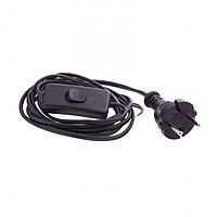 Шнур электрический соединительный, для бра с выключателем, 1,7 м, 120 Вт, черный, тип V-1 Россия Сибртех