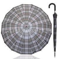 Зонт трость мужской полуавтомат в крупную клетку 94 см черно-серый