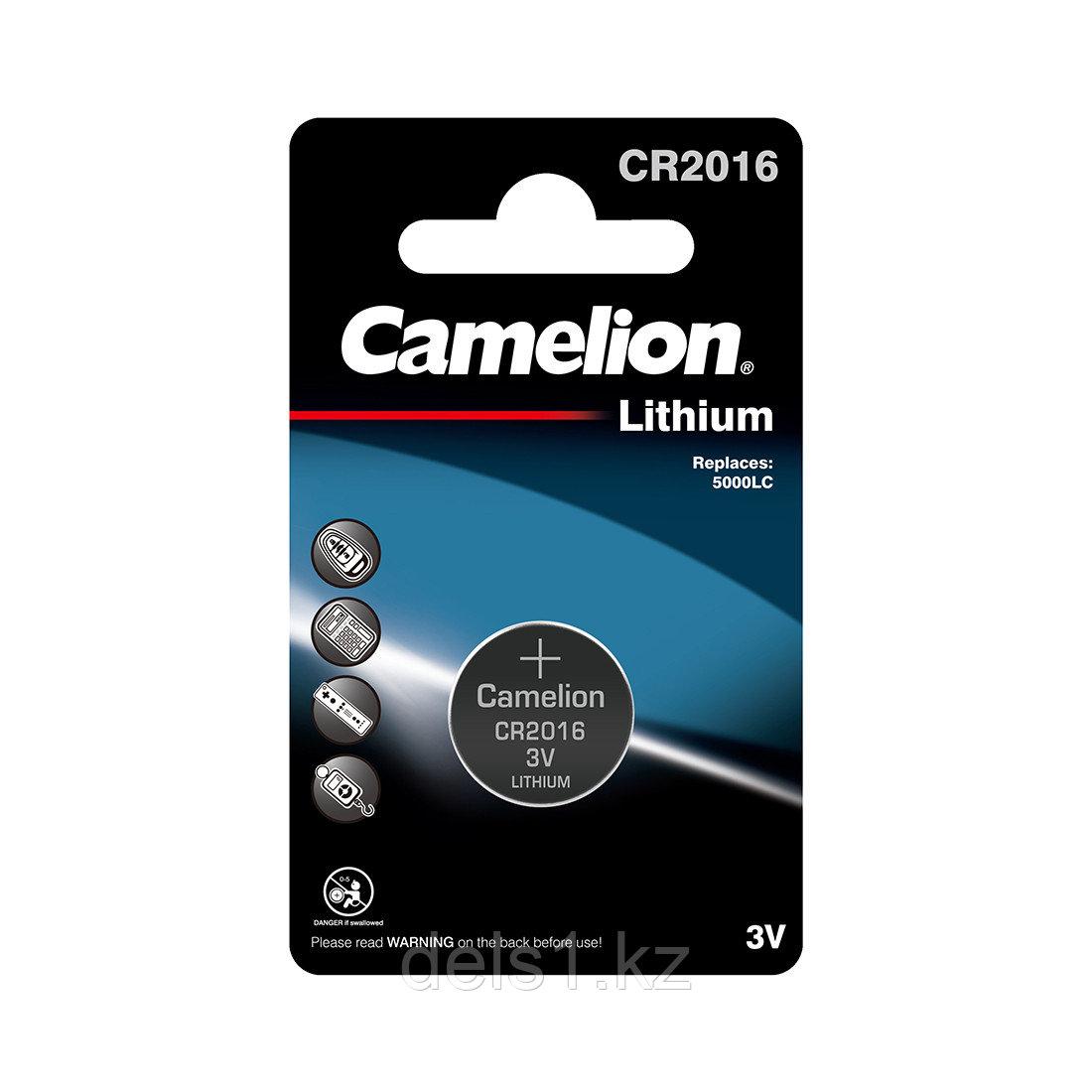 Батарейка, CAMELION, CR2016-BP1, Lithium Battery, CR2016, 3V, 220 mAh, 1 шт.