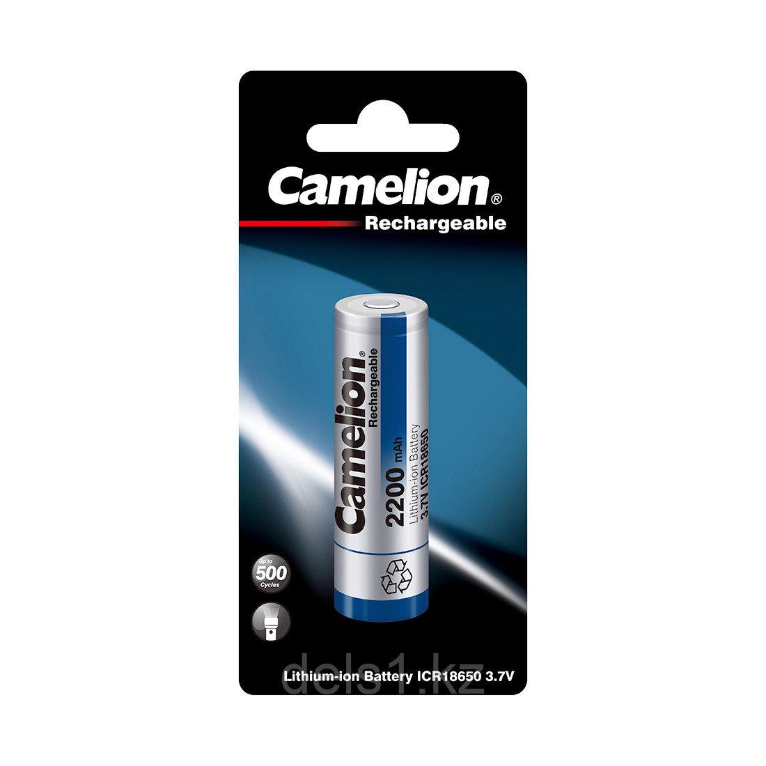 Аккумулятор, CAMELION, ICR18650F-22-BP, Lithium, 3,7V, 2200 mAh, 1 шт., Блистер, Серебристый