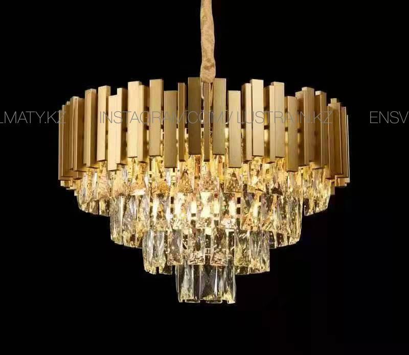 Хрустальная  золотая люстра на 9 ламп